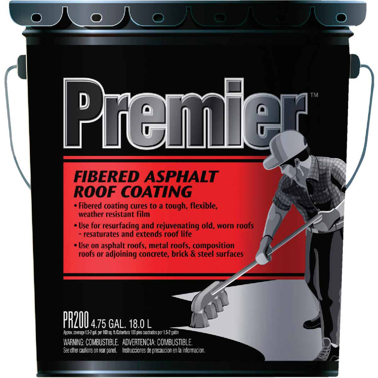Premier 5 Gal. Fibered Asphalt Roof Coating Image 1