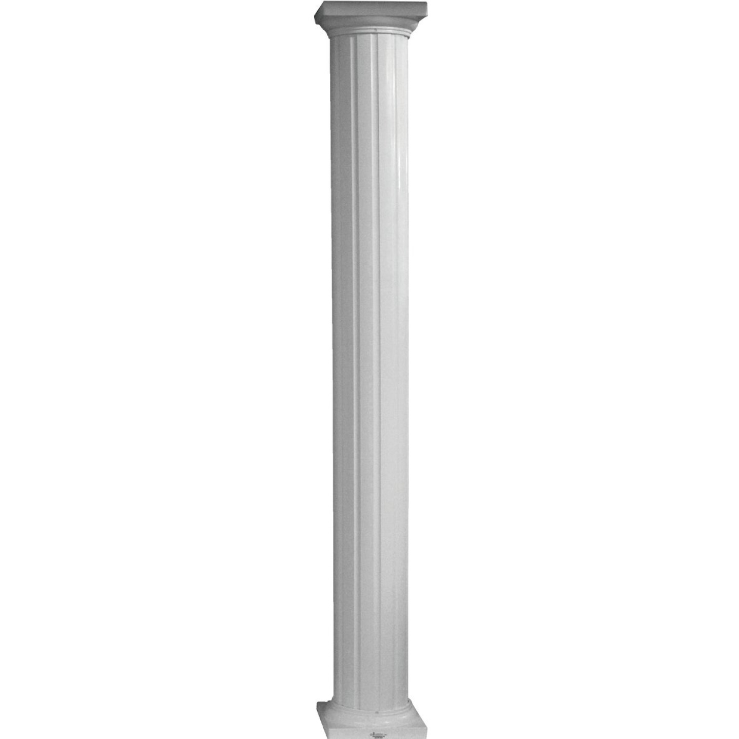 Crown Column 8 In. x 10 Ft. White Powder Coated Round Fluted Aluminum Column Image 1
