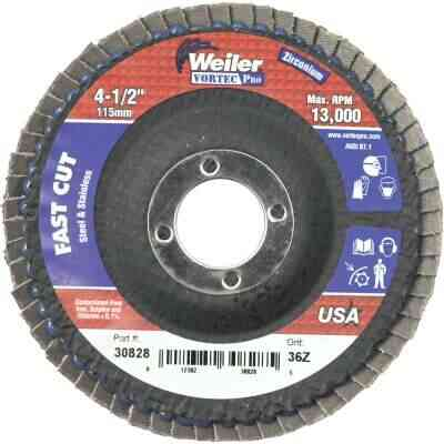 Weiler Vortec 4-1/2 In. x 7/8 In. 36-Grit Type 29 Angle Grinder Flap Disc