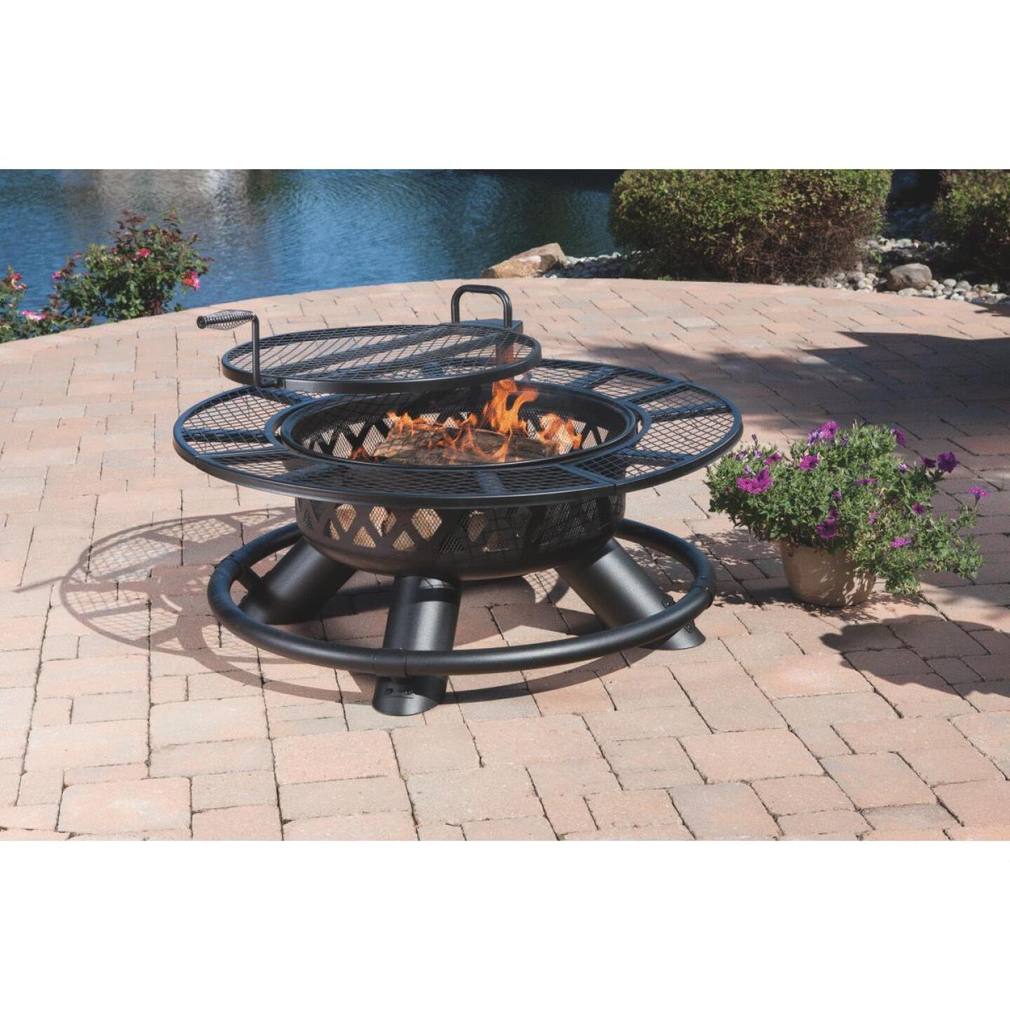 Big Horn 47 In. Camp Black Round Steel Fire Pit Image 7