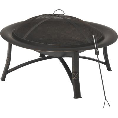 Outdoor Expressions 35 In. Antique Bronze Round Steel Fire Pit